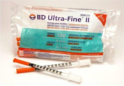 Seringa Insulina 100 Ui com Agulha 8x3mm Curta pct c/ 10 uni Ultra Fine - BD