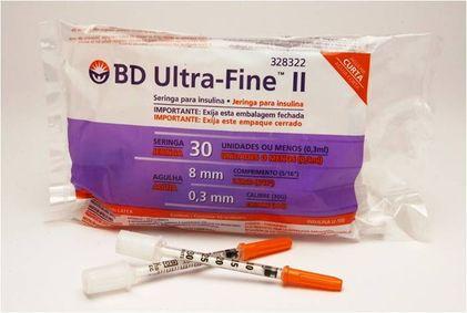 Seringa De Insulina 0,3/3 Ui Com Agulha 8x3 Curta - Pct C/10 unds - Ultra-Fine Bd