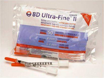 Seringa De Insulina 0,5/50 Ui Com Agulha 8x3 Curta - Pct C/10 - Ultra-Fine BD